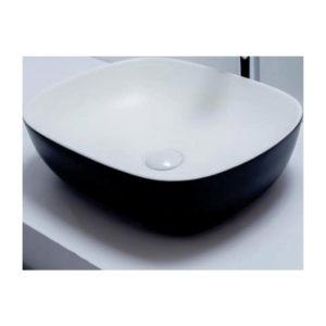Ghania counter top basin black + white
