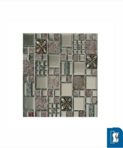 Pewter Floral Combo Glass/Rezin/Mirror Mosaic