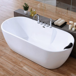Oval freestanding one piece bath incl taps